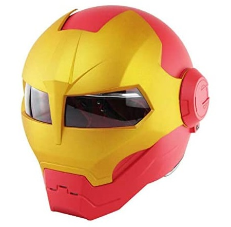 14. Stickit Graphix Motorcycle Iron Man Helmet with Flip Open Mask