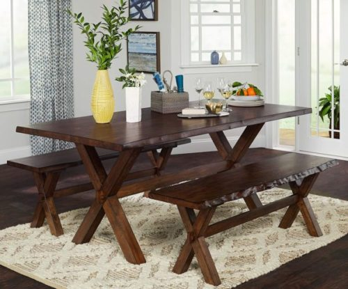 14. The Mezzanine Shoppe Wooden Benches for Dinning with Brown Color