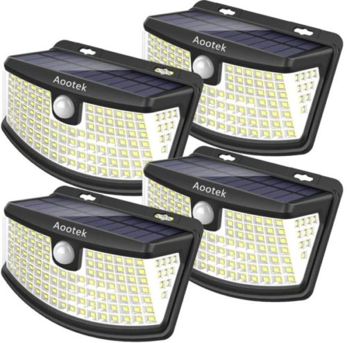 4. Aootek Solar Powered Motion Sensor Light with Wide Angle Light Reflector