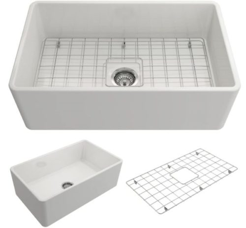 5. BOCCHI White Kitchen Sink with Strainer and Protective Bottom Grid