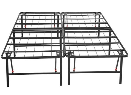 1. Amazon Bed Frame with Sturdy Metal Platform Portable Beds - No Folding Box Spring Needed