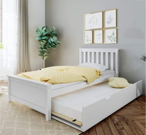 1. Max & Lily White Twin Bed Frame with Headboard and Trundle