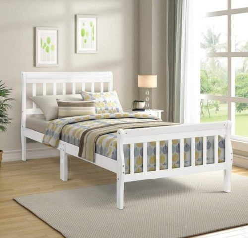 10. Rockjame Minimalistic Solid Wooden White Twin Bed Frame with Headboard