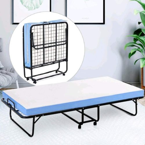 11. Mecor Metal Folding Bed Frame with 4 Wheel Rollaway Bed and Portable Mattress for Adults