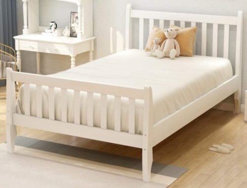 13. Danxee Wooden White Twin Bed with Twin Bed Headboards