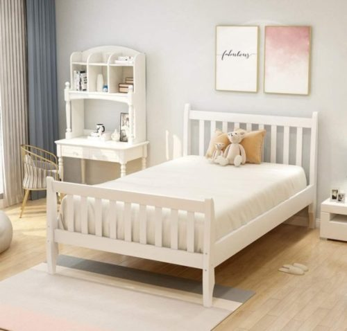 15. Merax Solid White Twin Bed Without Storage for Kids