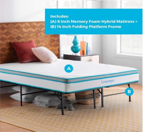 2. Linenspa Foldable Bed Frame with Memory Foam and Innerspring Hybrid Mattress - Queen Size Fold Down Bed
