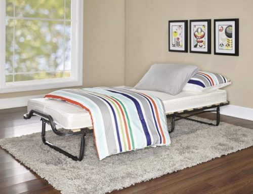 2. Linon Home Dcor Linon Memory Foam Luxor Folding Guest Bed - Portable Bed with Mattress