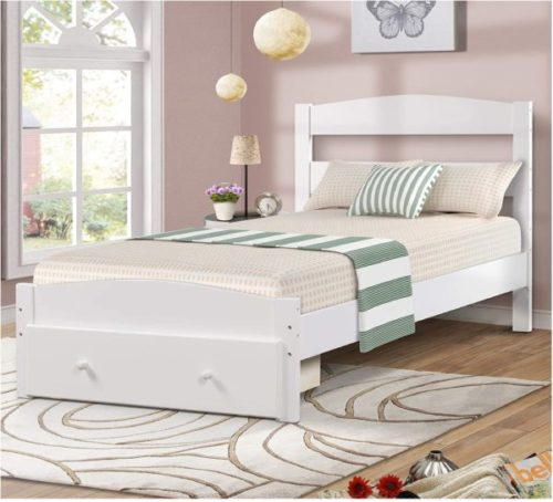 3. Merax Wood Platform White Twin Bed with Headboard - Best Twin Bed With Storage