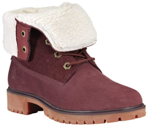 3. Timberland Waterproof Boots Women Teddy Fleece Fold-Down Fashion Waterproof Booties