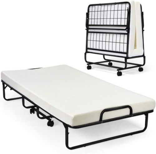 5. Giantex Guest Bed with Portable Mattress, Rollaway Bed, and Folding Bed Frame