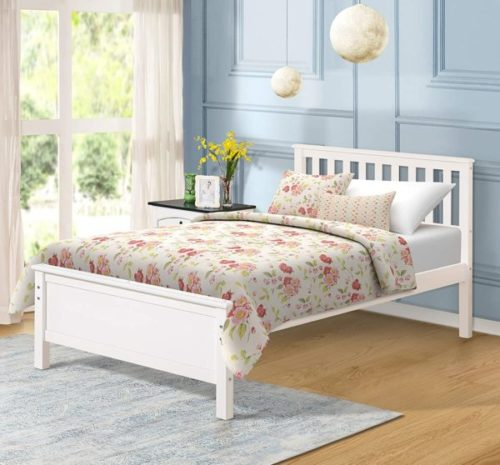 5. Harper&Bright Designs Wooden White Twin Bed Frame with Headboard