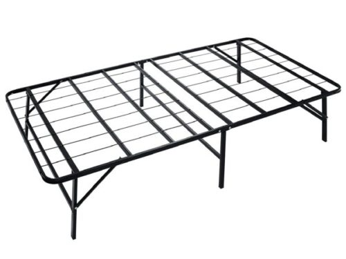 7. Naomi Home Ideal Base Folding Bed Frame with Box Spring Replacement - Folding Twin Bed