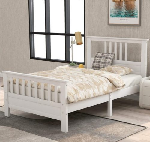 8. JULYFOX Wooden White Twin Bed Frame with Headboard