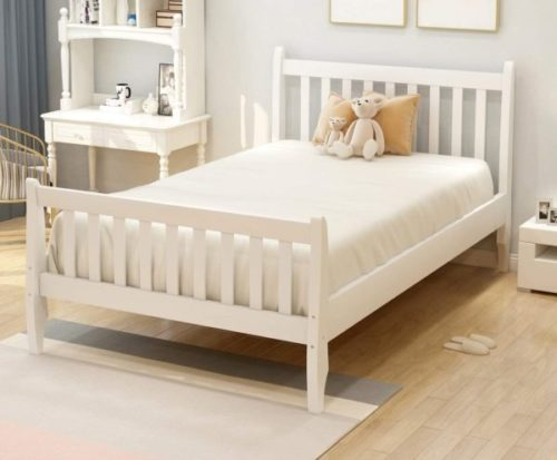 9. Rhomtree Wood Platform White Twin Bed Frame -  Kids Twin Bed Frame with Headboard