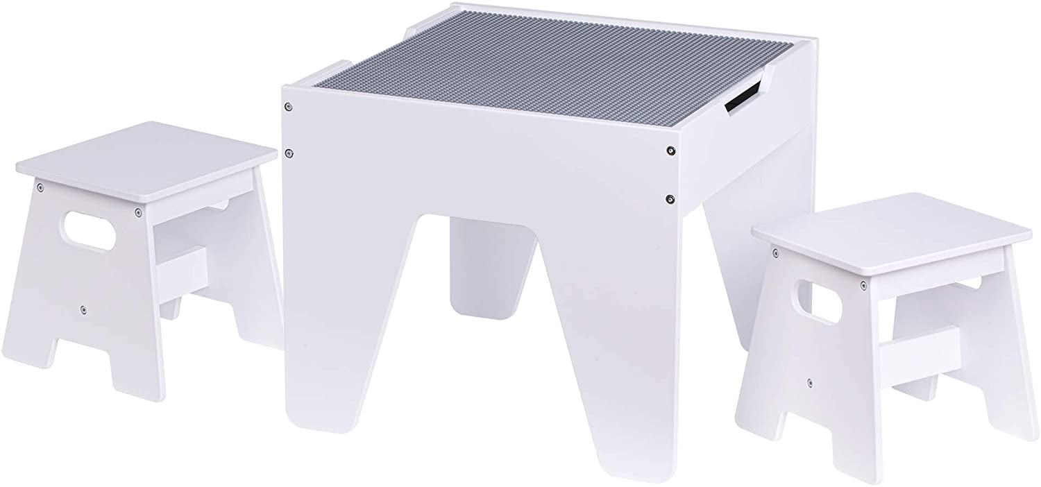UTEX Kids Construction Play Lego Tables with Storage
