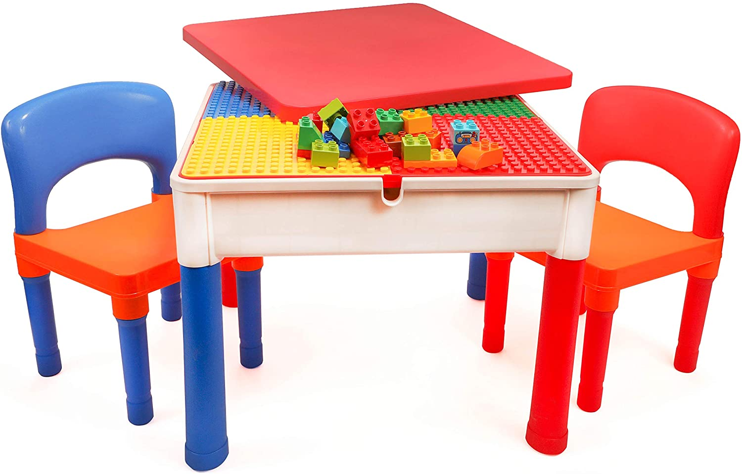 Smart Builder Toys 3 in 1 Lego Tables with Storage and chair set
