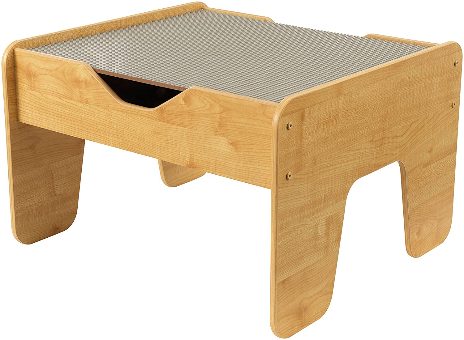 KidKraft 2-in-1 Lego Tables with Storage and Board, Gray/Natural
