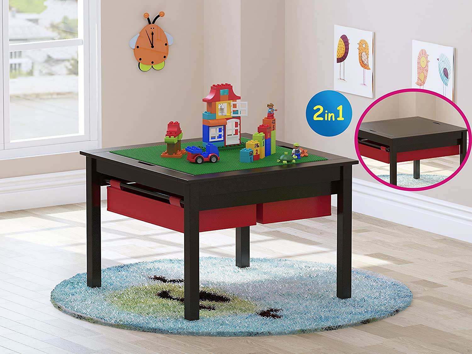 UTEX UTEX 2 in 1 Kids Construction Play Table with Storage Drawers and Built in Plate