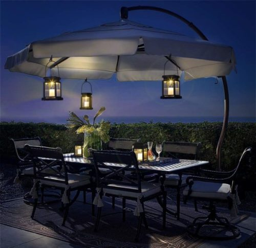 GIGALUMI Hanging Solar Powered Lantern for Home and Garden with Stake