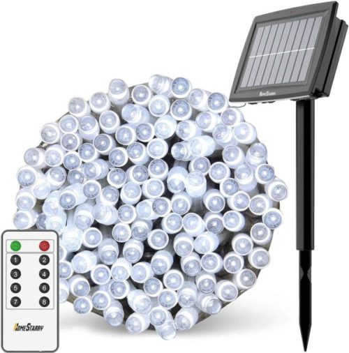 Homestarry LED Solar Powered Christmas Lights Outdoor with Flexible Cord