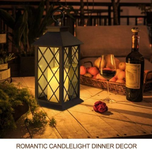 SHYMERY LED Flameless Cadle Solar Powered Lantern for Home and Garden