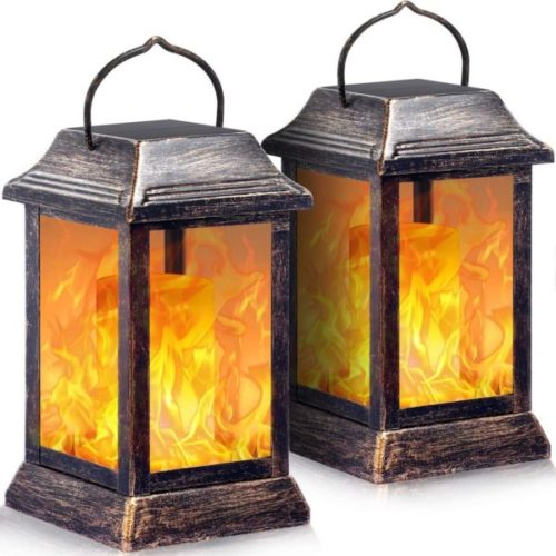 TomCare Flickering Flame LED Solar Powered Lantern for Home and Garden