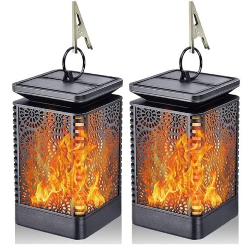 Yinuo Mirror Dancing Flame LED Solar Powered Lantern for Home and Garden Decoration