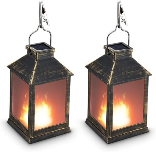 ZKEE Vintage DesignSolar Powered Lantern for Home and Garden with Vivid Fire Effect