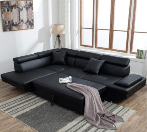 Best Massage Leather Sofa Bed with Storage and Pillows