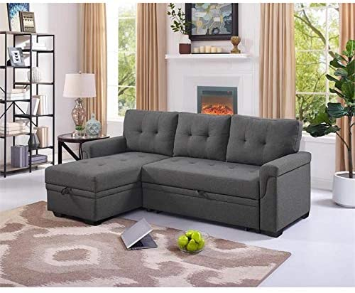 Bowery Hill Steel Grey Sofa Bed with Storage