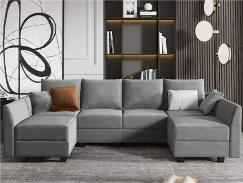 Honbay Sectional Sofa Bed with Convertible Design