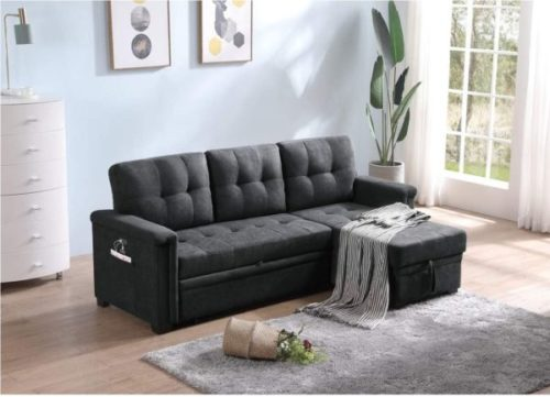 Lilola Grey Upholstered Sofa Bed with Storage and Tablet Pocket