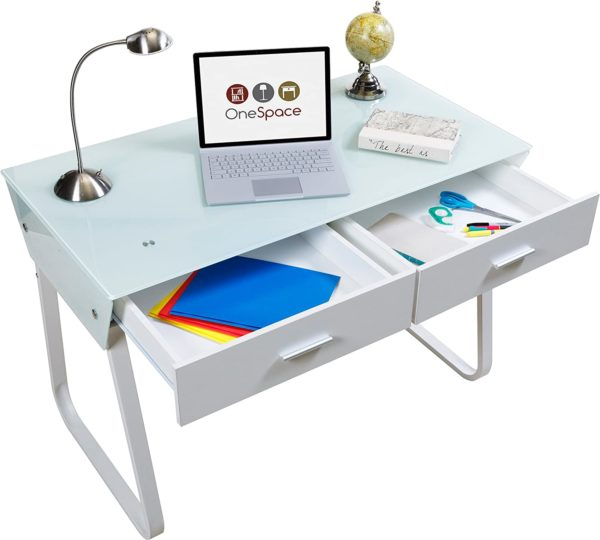 OneSpace Glass Computer Desk with Drawers