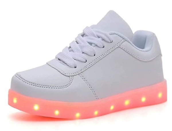 QTMS Unisex LED Light Up Flashing Colorful Sneakers for Kids