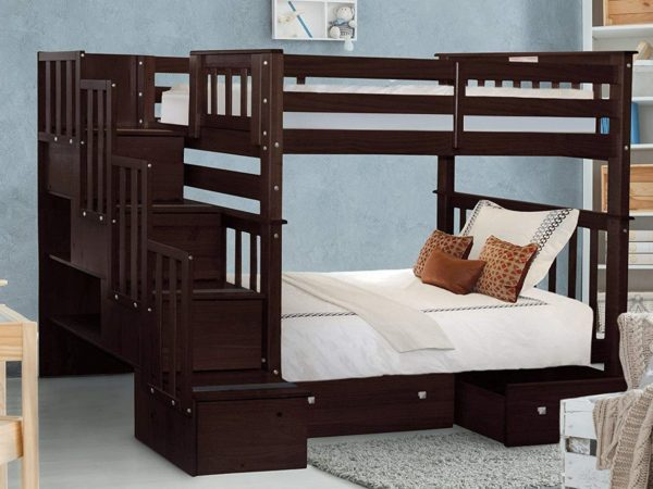 Bedz King Dark Cherry Bunk Bed With Trundles for Kids