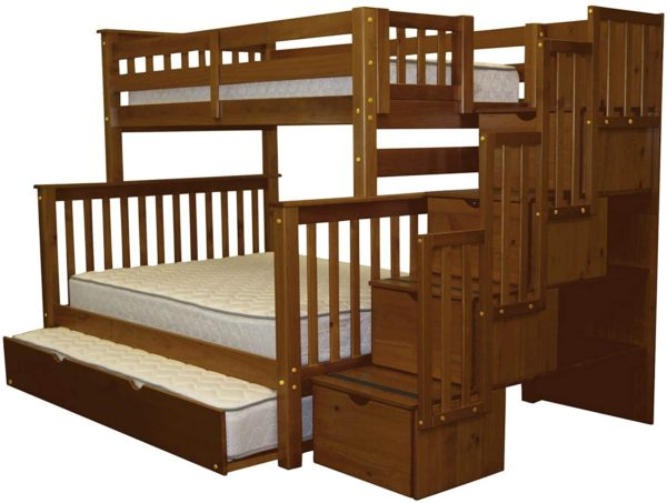 Bedz Stairway Twin Over Bunk Bed With Trundles for Kids