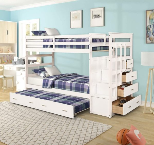 Civil Furniture Twin Over Bunk Bed With Trundles for Kids
