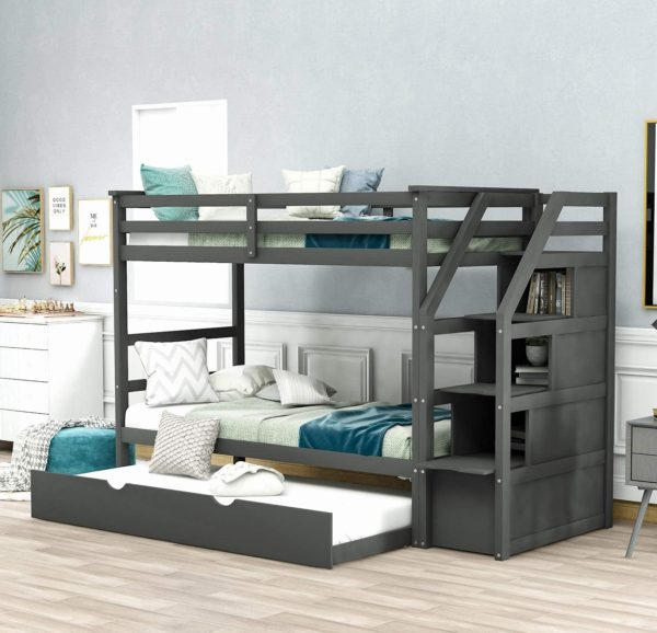 Danxee Wooden Bunk Bed With Trundles for Kids