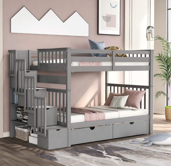 MERITINE Wood Bunk Bed With Trundles for Kids