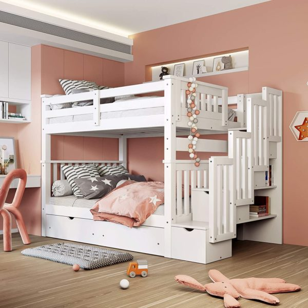 Merax Bunk Bed With Trundles for Kids, Plus Shelves and Storage Drawers