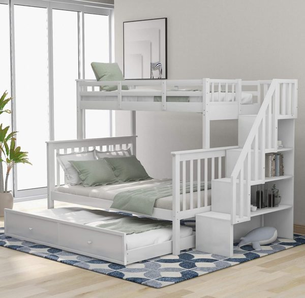 P PURLOVE Wooden Twin Bunk Bed With Trundles for Kids