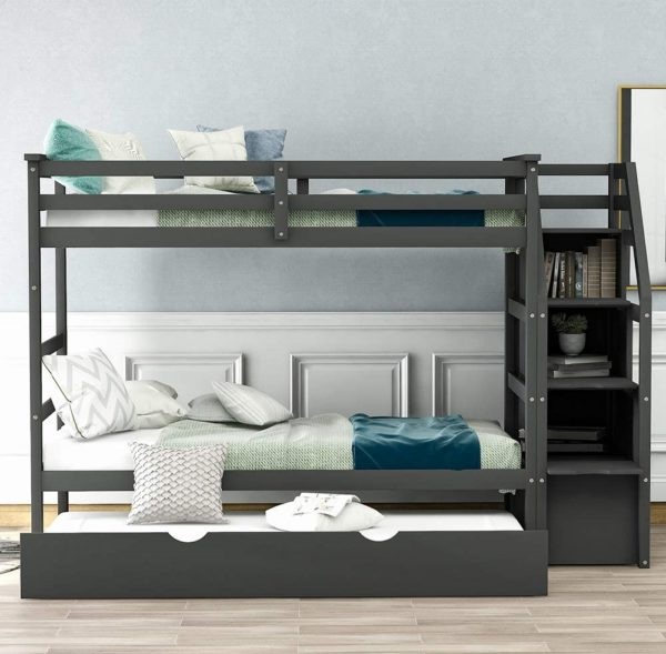 Rockjame Solid Wooden Bunk Bed With Trundles for Kids