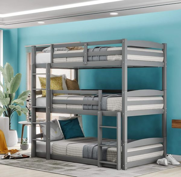 Tatub Wooden Twin Bunk Bed With Trundles for Kids and Adults